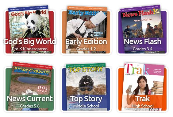 God's World News ~ A fabulous current events magazine with a Christian world view. Lots of online resources, too. For ages Pre-k through high school.
