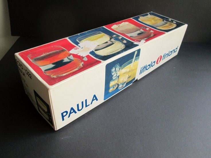 4 vintage Paula glasses (mugs) with steel holders, designed 1977 by Jorma Vennola for Iittala Finland, in original box.  Price is per 4. by SCALDESIGN on Etsy