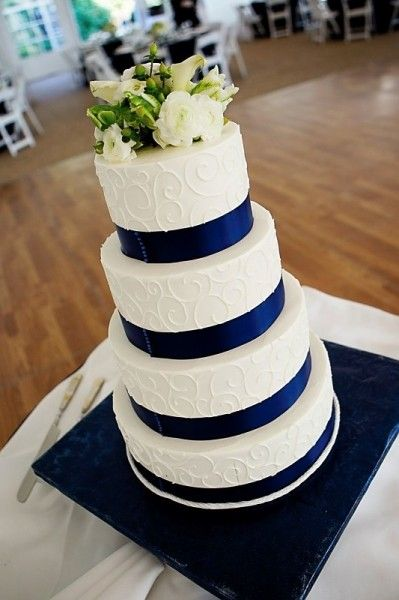 Like the swirls on the side of cake and the blue ribbon. Maybe add some silver and blue sparklers on top instead of flowers! And maybe just two tiers... What do you think? :D