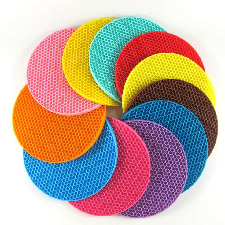 Meja Dapur 18 cm Putaran Silicone non-slip Tahan Panas Tikar Coaster Bantal Tatakan Pot Pemegang Aksesoris Dapur