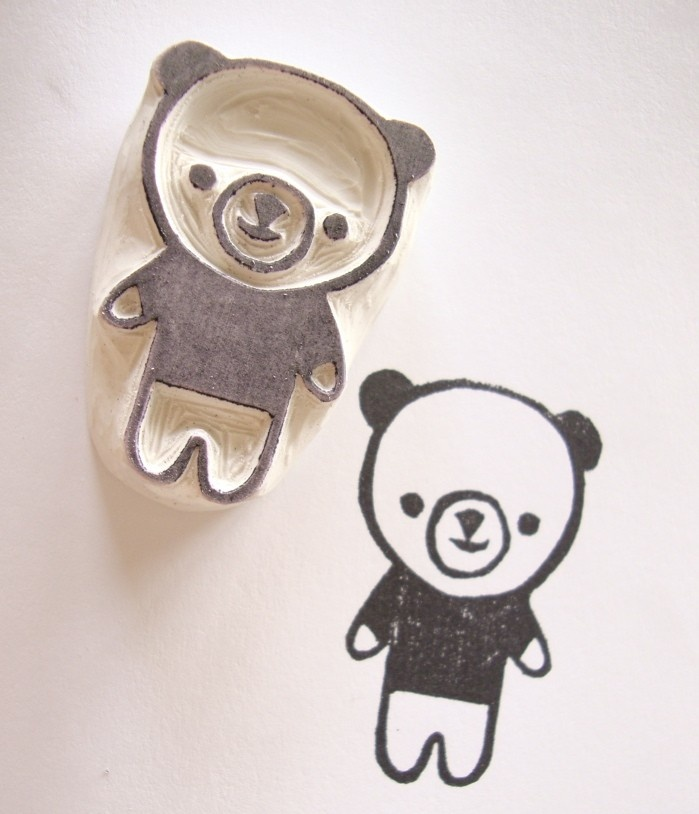 Cute Bear Hand Carved Rubber Stamp