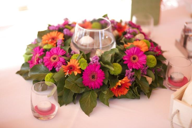 Germini and santini chrysantenum pink orange green fresh colors- floating candles