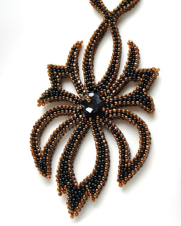 Beadwork by Olga Arsentieva. Midnight Flower Necklace.