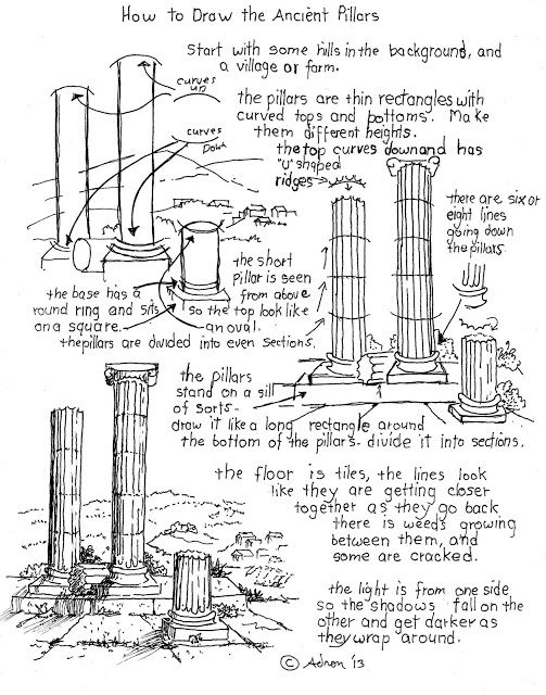How to Draw Worksheets for Young Artist: How to Draw The Ancient Roman Pillars Worksheet. you can print the worksheet and see the project notes at my blog, http://drawinglessonsfortheyoungartist.blogspot.com/2013/08/how-to-draw-ancient-roman-pillars.html