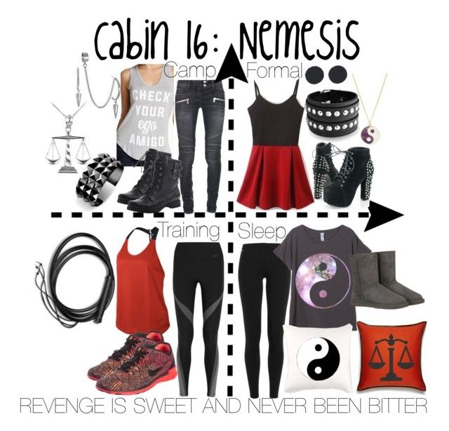 """Cabin 16: Nemesis"" by aquatic-angel ❤ liked on Polyvore featuring Balmain, Polo Ralph Lauren, Recycled Karma, French Connection, Zara Home, Ralph Lauren Home, UGG Australia, NIKE, Rogues Gallery and Waterford"