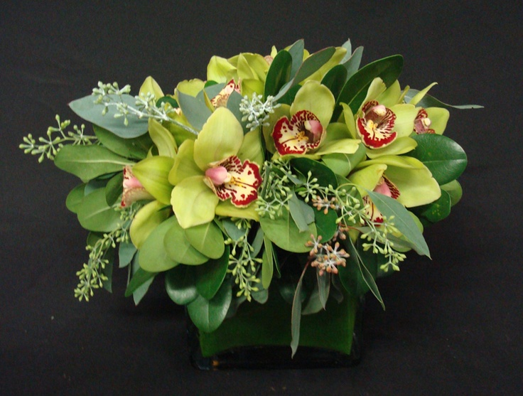 This is a cube vase floral arrangement that features lime green cymbidium orchids with accents of seeded eucalyptus. See our entire selection at www.starflor.com.  To purchase any of our floral selections, as gifts or décor, please call us at 800.520.8999 or visit our e-commerce portal at www.Starbrightnyc.com. This composition of flowers is generally available for same day delivery in New York City (NYC).   SQ299
