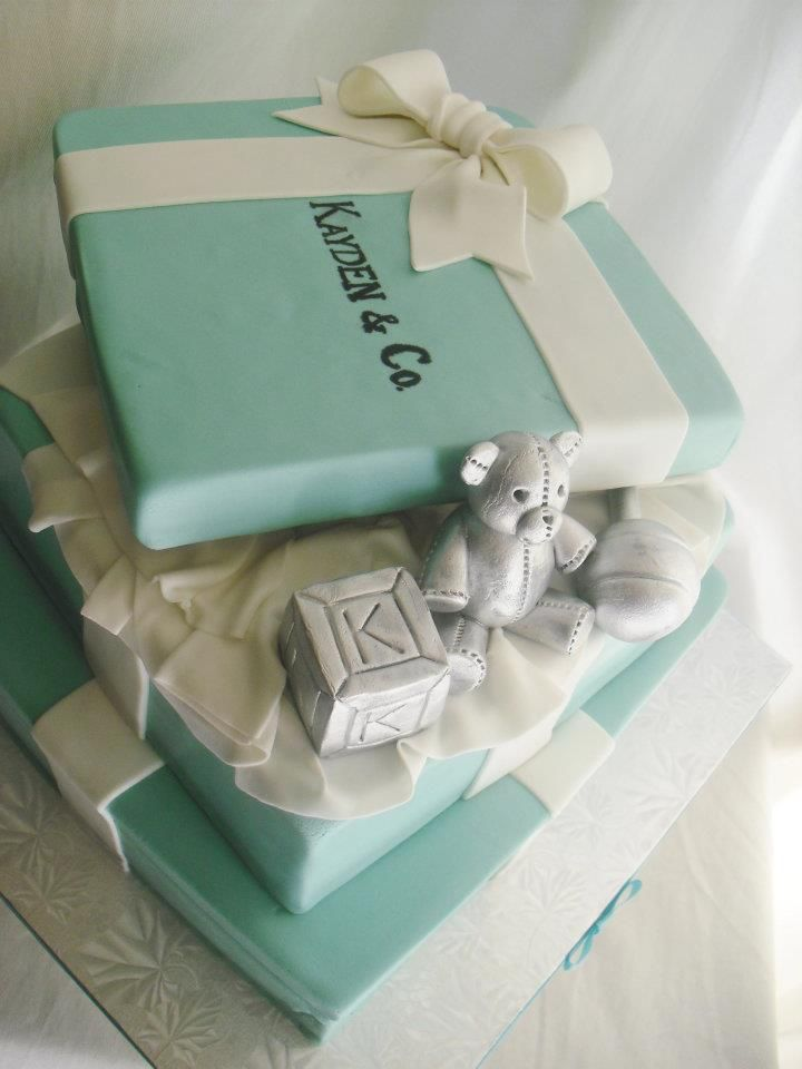 tiffany & Co. baby shower party decorations | ... daily: Two Tier Tiffany & Co. Themed Baby Shower Cake and Cupcakes