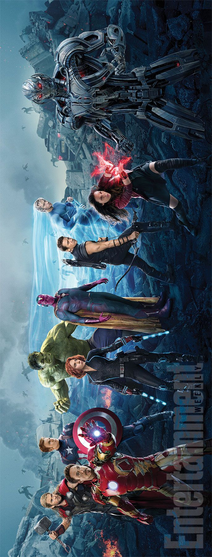 "Entertainment Weekly ""Avengers: Age of Ultron"" cover banner, April 17-24, 2015 issue. - visit to grab an unforgettable cool 3D Super Hero T-Shirt!"