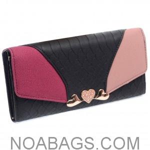 Portefeuille femme cuir tricolore Noir