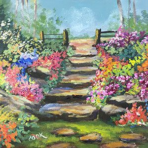 Garden Pathway - Ginger's Birthday Gift to You - Acrylic Painting Lessons for Beginners to Advanced Artists