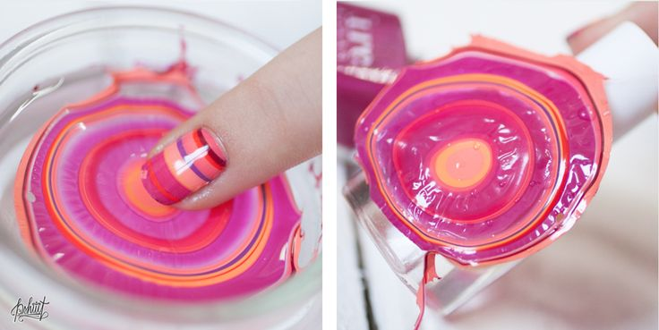 Dry Watermarble by Pshiiitt. Drop polish in water, let dry overnight, use as nail patch #nomesswatermarble