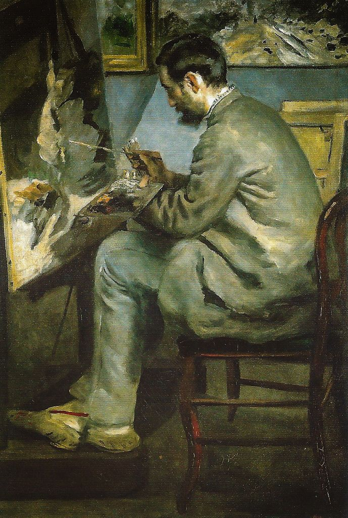 Pierre Auguste Renoir - Frederic Bazille at His Easel, 1867 Musee d'Orsay Paris France