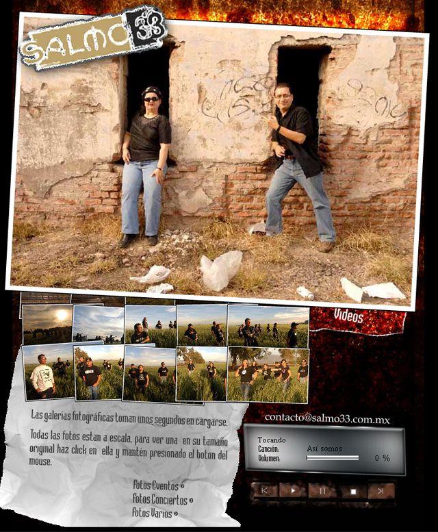 Diseño Web para grupo musical cristiano, con reproductor de Audio, letras de canciones, galería de Videos, galería de imágenes interactiva y Chat. Diseñado el 2008.  Galería de imágenes: http://janikmac.com/portafolio/salmo33/