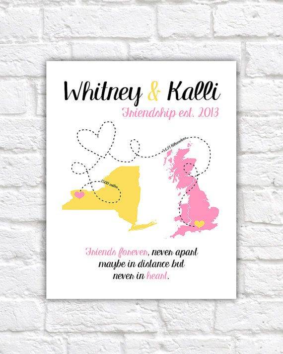 Best Friends Long Distance Personalized Gift Map Print