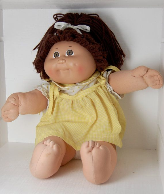 Vintage Cabbage Patch Kid Girl Doll w/Brown Hair 1984 Coleco....mine has a pink dress