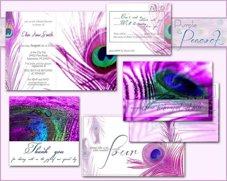 Peacock Wedding Invitations Template: PEACOCK Printable WEDDING INVITATION
