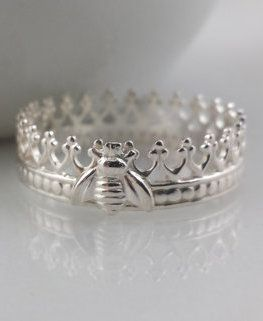 Sterling Silver Queen Bee Crown Ring