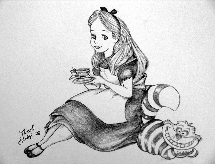 alice in wonderland drawing cat