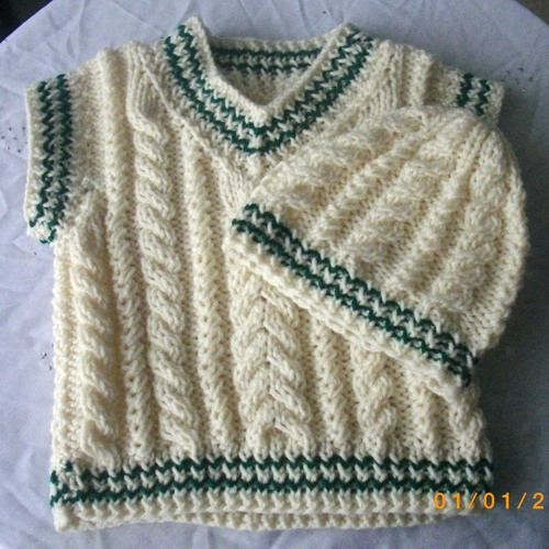 Cream aran cable sleeveless pullover and hat for baby or toddler