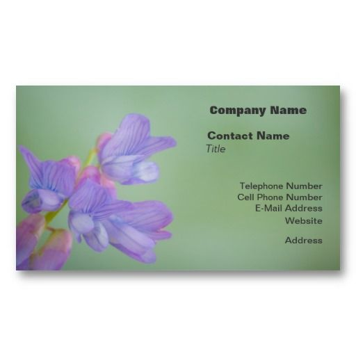 Soft Purple Wild Flowers with a Green Background Business Card Template