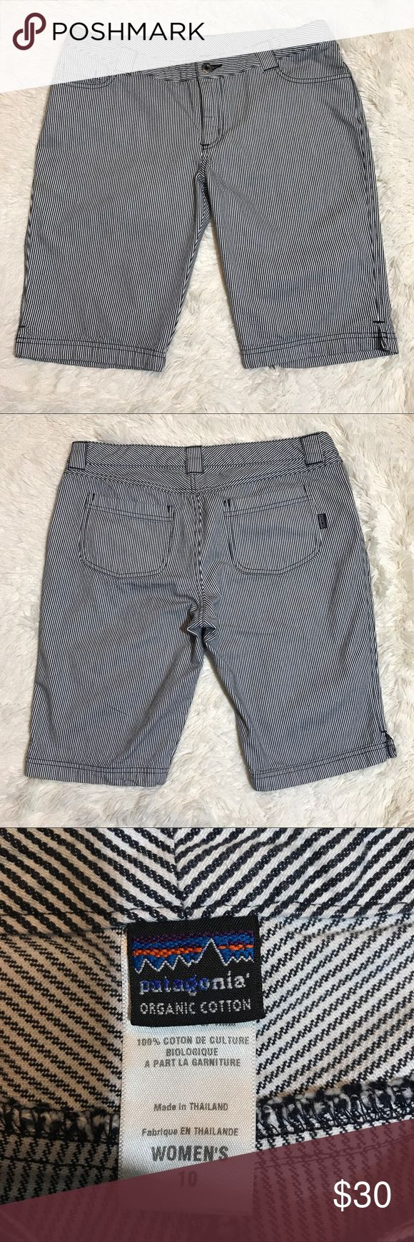 "Patagonia Nautical Shorts Patagonia women's navy blue and white stripped Bermuda shorts  Waist - 17""  Length - 21"" Patagonia Shorts Bermudas"