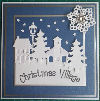 047_S15_Village Scene, Tree, Lamp Post with Snowflake and Sentiment. Handmade by Diane Prinsloo (Lubbe).