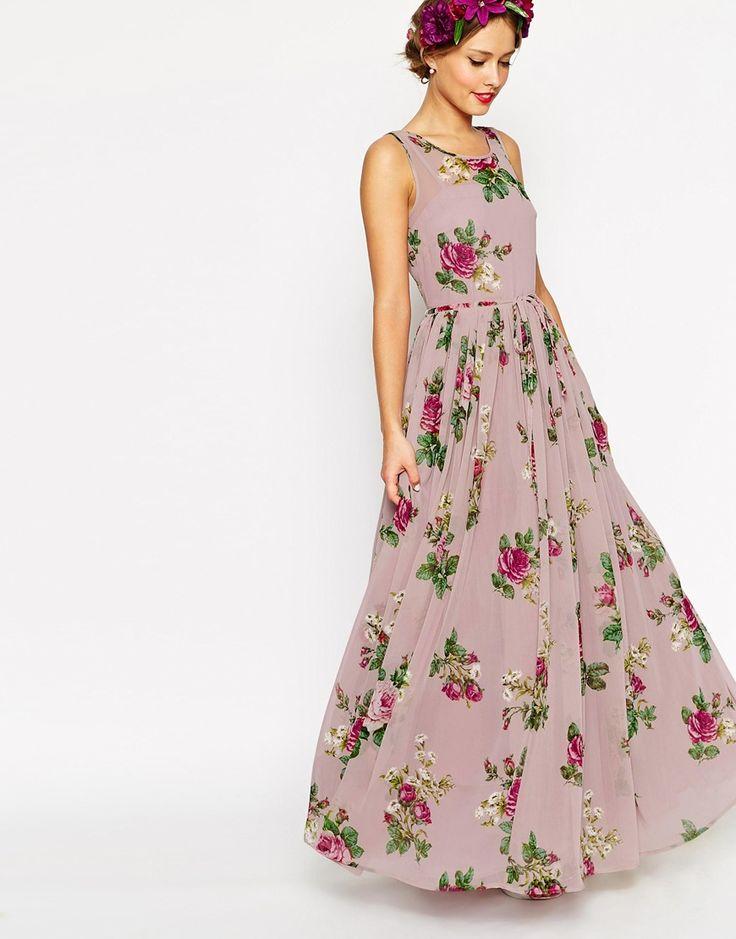 Image 3 ofASOS PETITE WEDDING Super Full Maxi Dress in Floral Print