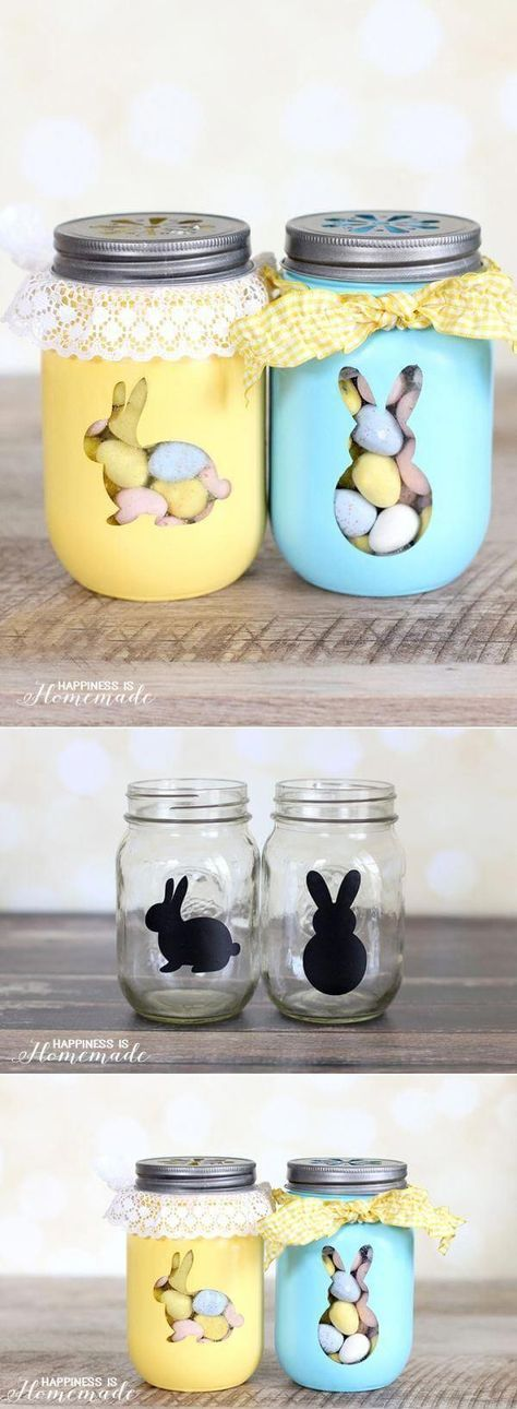 A cute DIY project for your Easter decorations. Stenciled mason jars filled with chocolate eggs! Pastel colors and contrasting ribbon give these the perfect springy feel.