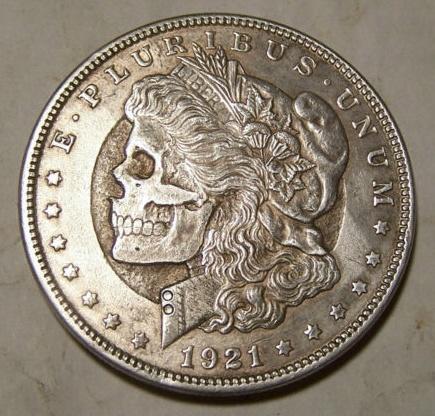 John Hughey 1921 Morgan Silver Dollar Skull I Love