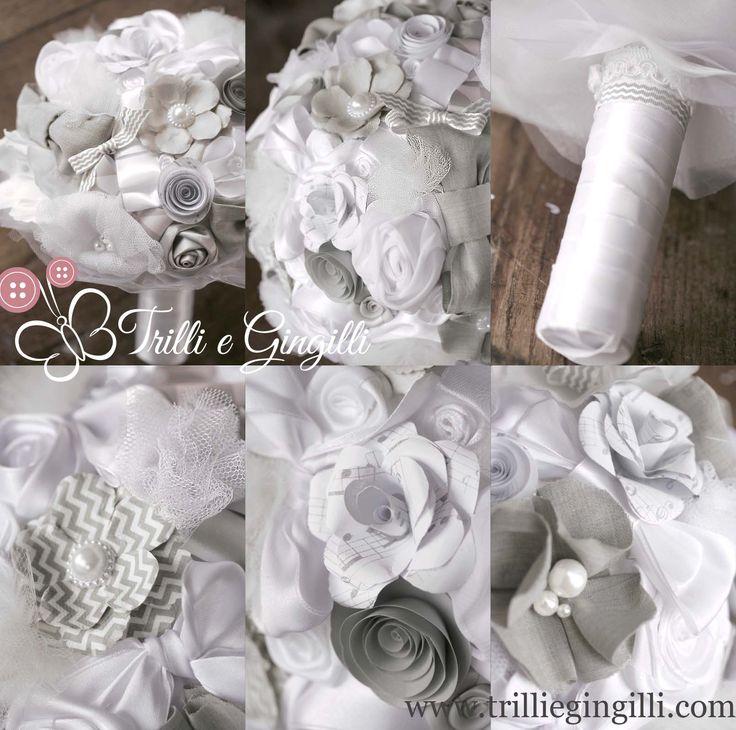 Bouquet sposa bianco e grigio con fiori di carta e stoffa. Wedding bouquet white and grey with paper and fabric flowers. Scopri altri bouquet simili su www.trilliegingilli.com