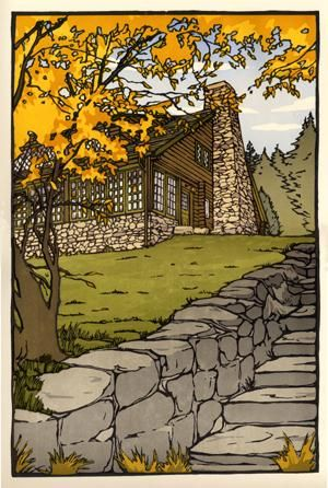 Craftsman Farms Foundation, New Jersey commission for their centennial celebration. Woodblock by Yoshiko Yamamoto