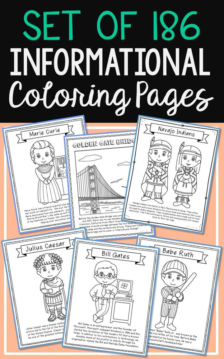 Coloring pages solar system letters - Set Of 186 Historical Figures Solar System And Usa Landmarks Coloring Pages With Informational