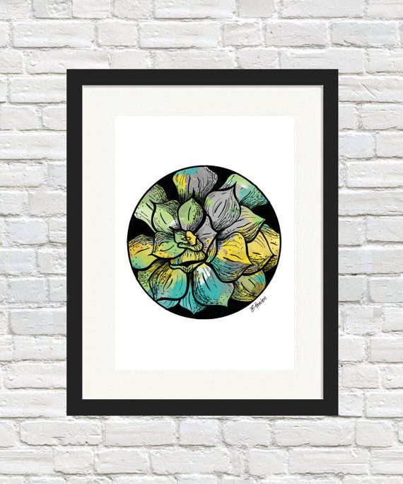 Succulent Orb Print by BronwynHoustonArt on Etsy