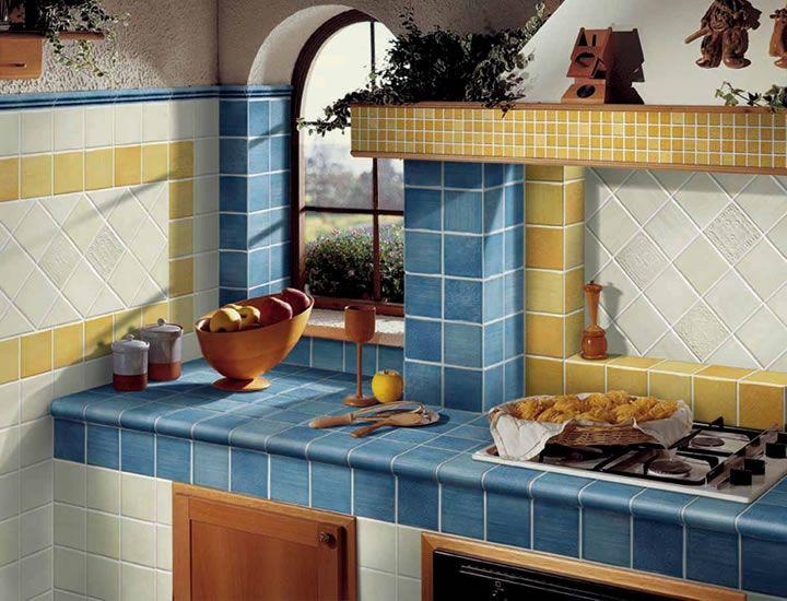 Gallery of cucine in muratura piano di lavoro in piastrelle o pietra ...