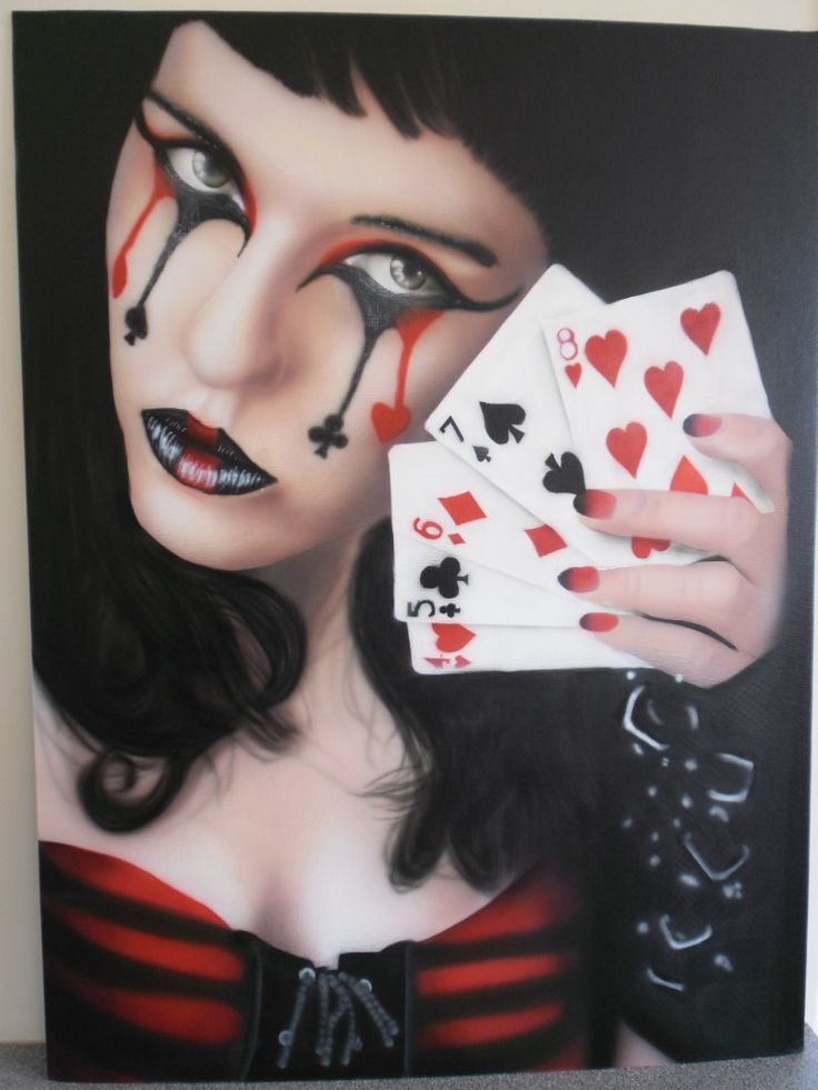 Airbrush from photo - girl playing poker. By Andrew J Ross, Christchurch, NZ
