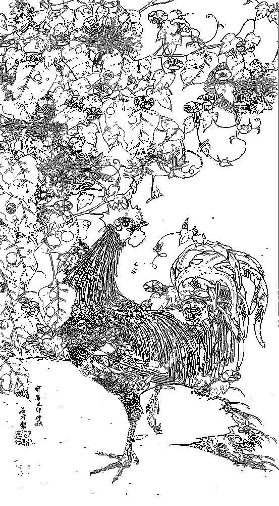 Free coloring page / Ito Jakuchu 伊藤若冲 05_向日葵雄鶏図-001-rinkaku01 …
