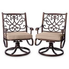 Folwell 2pk Cast Aluminum Swivel Dining Chairs - Threshold™ : Target