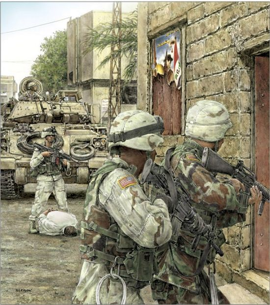 US Army soldiers conducting a search for enemy holdouts in a typical Iraqi urban setting.