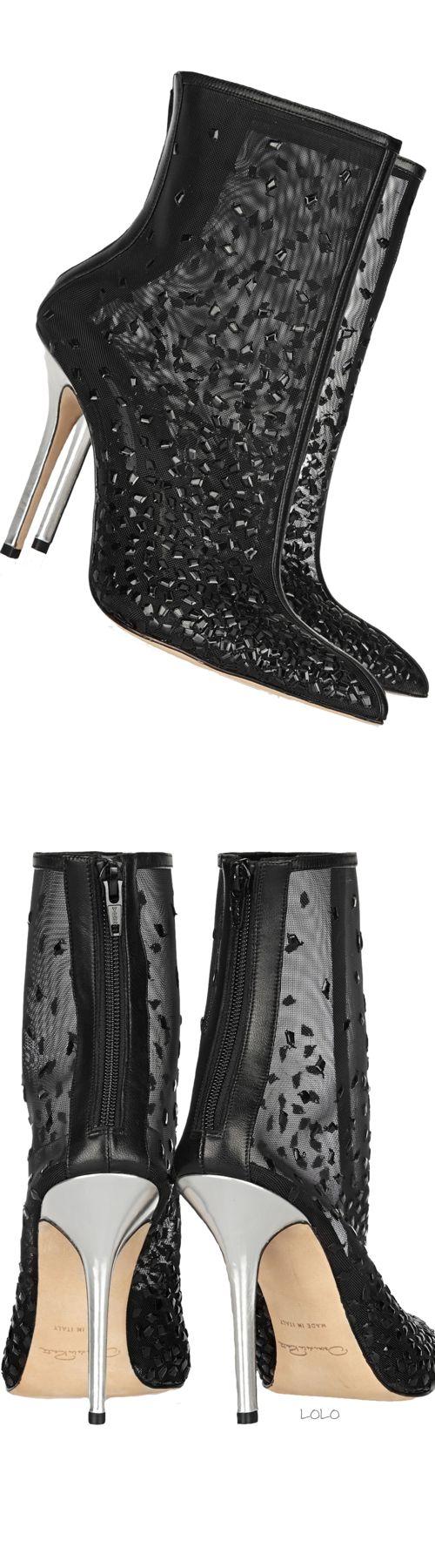 OSCAR DE LA RENTA Camille embellished Mesh Ankle Boots