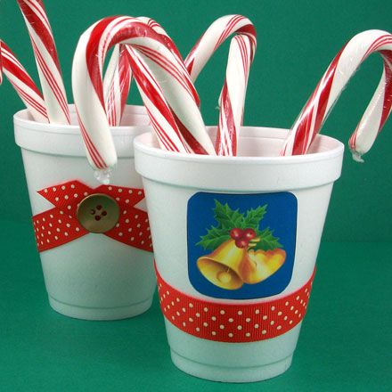 Christmas party favor ~ styrofoam cup w/ribbon & stickers
