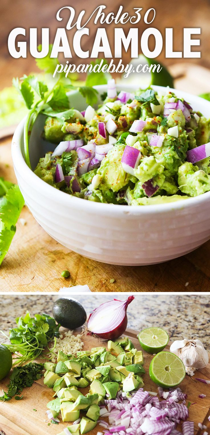 Quick and Easy Guacamole | This is the best and quickest Basic Guacamole recipe you'll find! A great Whole30 compliant snack or appetizer/party food! #whole30 #guacamole #partyfood