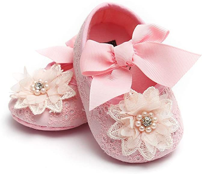 Baby Girl Mary Jane Flats Sparkly Non-Slip Soft Sole Infant Crib Shoes Toddler Princess Wedding Dress Shoes with Headband