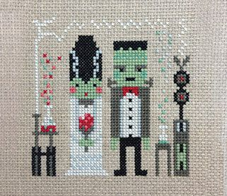 Fran and Frankie!  Love blossoms in the science lab with this classic horror film couple. These spooky lovebirds will make the perfect gift for the mad scientist in your life, or a great wedding sampler for a quirky couple.    Design size: 55 x 55 stitches  Finished size: 10cm square on 14 count aida cloth    This PDF pattern includes:  • Photo image of the finished design for your reference  • Materials list, including DMC stranded cotton colour numbers  • Design chart in colour with…