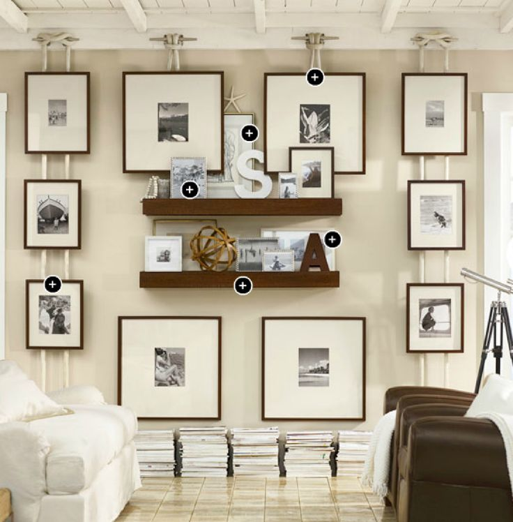 Gallery wall idea using boat cleat and nautical rope from Pottery Barn (could be cool in our nautical bathroom)