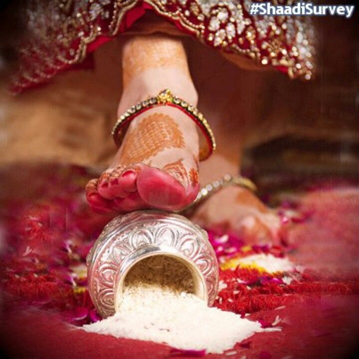 Greh pravesh: this ceremony is when the first time the bride enters her new home with her husband. She has to push the vessel kept on the threshold full of rice, which falls into the house- depicting that she is bringing prosperity .