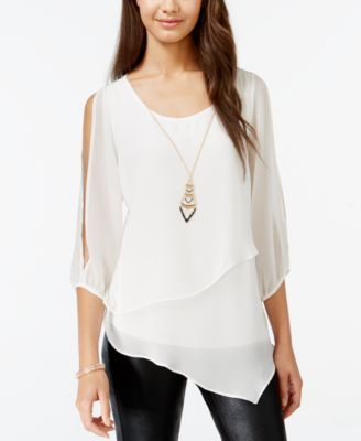 BCX Juniors' Cold-Shoulder Asymmetrical Top