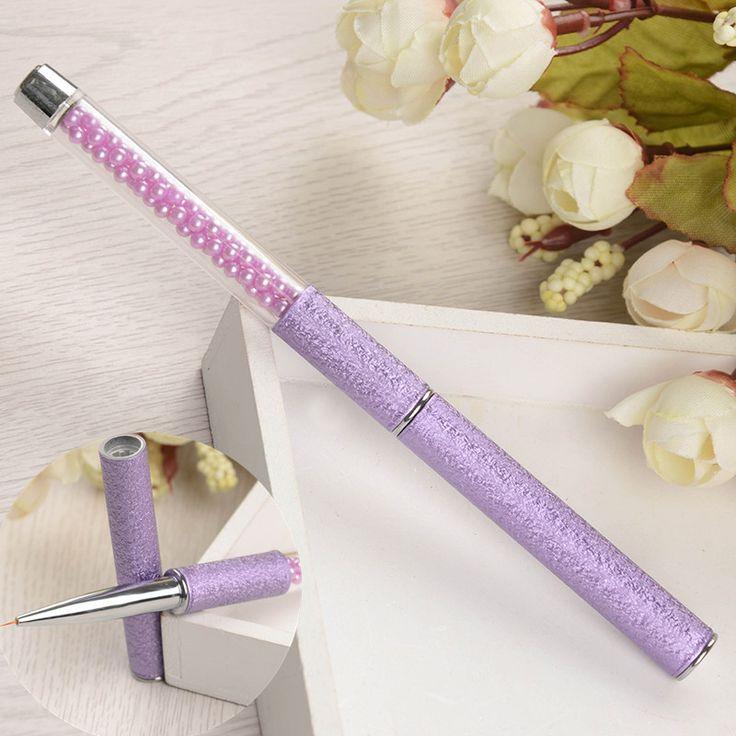 1 Pc Purple Nail Art Liner Brush Paint Nail Drawing Pen Bead Handle Pretty Nail Art Manicure Tool Nail Brush New Arrival