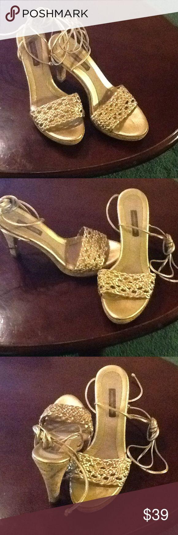 Antonio Melani Gladiator high Cork heel sandals ANTONIO MELANI GLADIATOR HIGH CORK HEEL GOLD SANDALS SIZE M PREOWNED GOOD CONDITION ANTONIO MELANI Shoes Heels