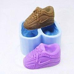 um par de sapatos em forma fondant molde bolo de chocolate