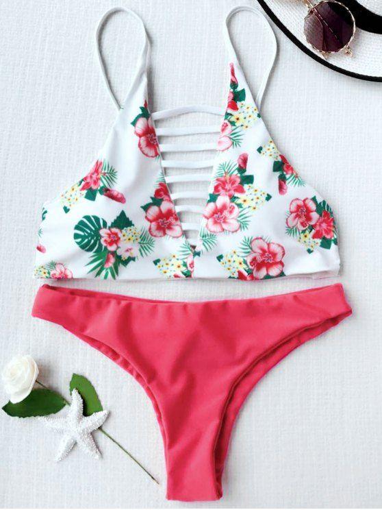 Traje de Bikini de Tirante con Cordón con Estampado Floral - ROJO CON BLANCO S